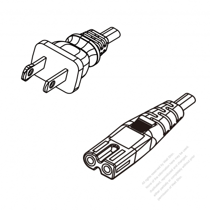 US/Canada 2-Pin NEMA 1-15P Polarized Plug To IEC 320 C7 Polarized AC Power Cord Set Molding (PVC) 1 M (1000mm) Black (NISPT-2 18/2C/60C )