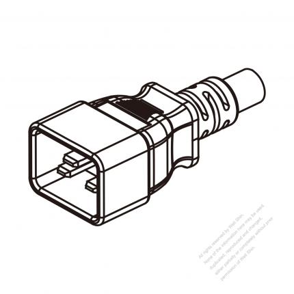 US/Canada 3 Pin IEC Sheet I Plug/ Cable End Cut AC Power Cord - Molding PVC 1.8M (1800mm) Black  (SJT 14/3C/60C  )