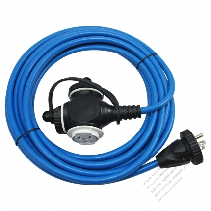 USA 3 Pin Locking Cord NEMA 5-15P Plug /5-15R Receptacle x 3(1.0MMSQ)Blue 25 or 50 FT (7.62 or 15.24M)
