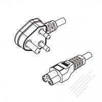 India 3-Pin Angle Plug To IEC 320 C5 AC Power Cord Set Molding (PVC) 1 M (1000mm) Black (YY 3G 0.75mm2 Round )