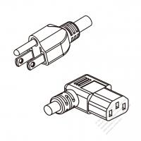 US/Canada 3-Pin NEMA 5-15P Plug To IEC 320 C13 Right Angle AC Power Cord Set Molding (PVC) 1 M (1000mm) Black (SVT 18/3C/60C )