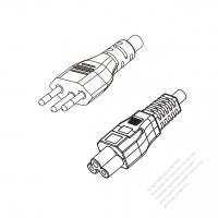 Brazil 3-Pin Plug to IEC 320 C5 Power cord set (HF - Halogen free) 1.8M (1800mm) Black (H03Z1Z1-F 3X0.75MM )