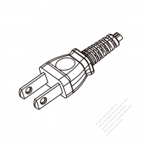 Japan 2-Pin Plug Cable End WS-SR-547 + STRIP 10CM AC Power Cord - Molding PVC 1.5M (1500mm) Black  (VCTFK 2X0.75MM FLAT )