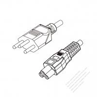Switzerland 3-Pin Plug to IEC 320 C5 Power Cord Set (PVC) 1.8M (1800mm) Black  (H03VV-F 3G 0.75MM2 )