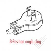 USA/Canada 2-Pin 2 wire Angle Type AC Plug, 7A 125V