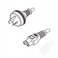 Australia 3-Pin Plug To IEC 320 C5 AC Power Cord Set Molding (PVC) 0.5M (500mm) Black ( H05VV-F 3G 0.75mm2 )
