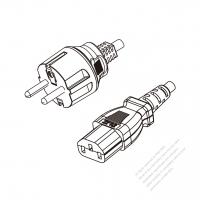 Korea 3-Pin Plug to IEC 320 C13 Power Cord Set (PVC) 1.8M (1800mm) Black  (K60227 IEC 53 3X0.75MM )
