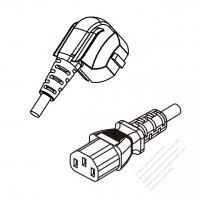 Korea 3-Pin Plug (No G Hole) To IEC 320 C13 AC Power Cord Set Molding (PVC) 1.8M (1800mm) Black ( H05VV-F 3G 0.75mm2 )