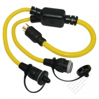 USA 4Pin Locking Y Adapter Cord 1 to 2, RV L14-30P Plug to Locking L5-30R or 5-15R x 2, Yellow 3 FT (0.9M)