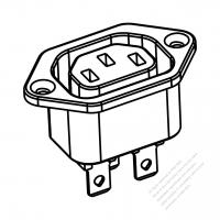 AC Socket IEC 60320-2 Sheet F Appliance Outlet, Screw Type, 10A/15A 125V