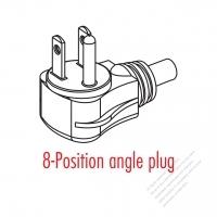 Taiwan/ Japan 3-Pin Elbow AC Plug, 7/ 11/15A 125V