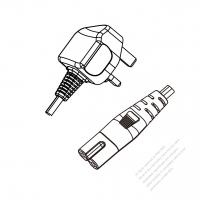 UK 3-Pin Plug to IEC 320 C7 Power cord set (HF - Halogen free) 1.8M (1800mm) Black (H05Z1Z1H2-F 2X0.75MM )