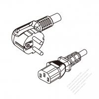 Russia 3-Pin Angle Plug To IEC 320 C13 AC Power Cord Set Molding (PVC) 1.8M (1800mm) Black ( H05VV-F 3G 0.75mm2 )