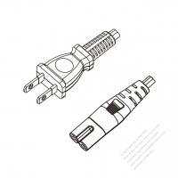 Japan 2-Pin Plug to IEC 320 C7 Power Cord Set (PVC) 1.8M (1800mm) Black  (VCTFK 2X0.75MM )