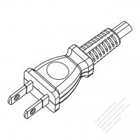 Taiwan/ Japan 2-Pin 2 wire Straight AC Plug, 7A 125V