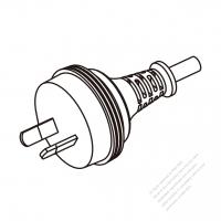 Australia 2-Pin Plug/ Cable End Cut AC Power Cord - Molding PVC 1.8M (1800mm) Black  (H03VVH2-F  2X 0.75mm2  )