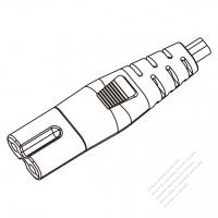 USA/Canada IEC 320 C7 Connectors 2-Pin Straight 7A/ 10A 125, 2.5A/ 7A/ 10A 250V