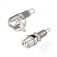 Europe 3-Pin Angle Plug To IEC 320 C13 AC Power Cord Set Molding (PVC) 0.5M (500mm) Black ( H05VV-F 3G 0.75mm2 )
