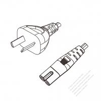 Argentina 2-Pin Plug to IEC 320 C7 Power cord set (HF - Halogen free) 1 M (1000mm) Black (H03Z1Z1H2-F 2X0.75MM )