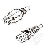 Taiwan 3-Pin Plug To IEC 320 C13 AC Power Cord Set Molding (PVC) 0.5M (500mm) Black (VCTF 3X0.75MM Round )