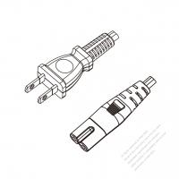 Japan 2-Pin Plug to IEC 320 C7 Power cord set (HF - Halogen free) 1.8M (1800mm) Black (EM-OFF 2X0.75MM )