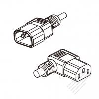US/Canada 3-Pin IEC 320 Sheet E Plug To IEC 320 C13 Right Angle AC Power Cord Set Molding (PVC) 1.8M (1800mm) Black (SVT 18/3C/60C )