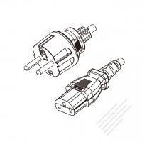 Korea 3-Pin Plug to IEC 320 C13 Power cord set (HF - Halogen free) 1.8M (1800mm) Black (H05Z1Z1-F 3X0.75MM )