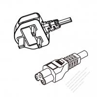 UK 3-Pin Plug To IEC 320 C5 AC Power Cord Set Molding (PVC) 1.8M (1800mm) Black ( H03VV-F 3G 0.75mm2 )