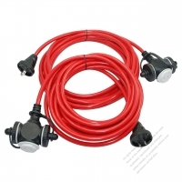 USA 2 Pin Locking Cord NEMA 1-15P Plug /1-15R Receptacle x 3(1.25MMSQ)Red 25 or 50 FT (7.62 or 15.24M)