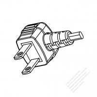 Japan 2-Pin Angle Plug/Cable End Cut AC Power Cord - Molding PVC 1.8M (1800mm) Black  (60227 IEC 52 2X 0.75mm2 )