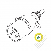 IEC 309 (2P+E ) IP 44 Splash proof AC Plug, 16A 110V (4H)
