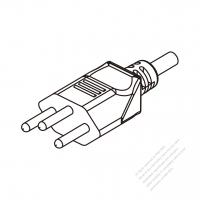 Switzerland 3-Pin Plug/Cable End Remove Outer Sheath 20mm Semi-Stripe Inner Sheath 13mm AC Power Cord - Molding PVC 1.8M (1800mm) Black  (H05VV-F  3G 0.75mm2  )