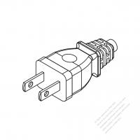 Taiwan/ Japan 2-Pin 2 wire Straight AC Plug, 2.5A/7A/9A/11A/15A 125V