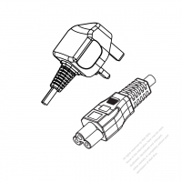 UK 3-Pin Plug to IEC 320 C5 Power cord set (HF - Halogen free) 1.8M (1800mm) Black (H05Z1Z1-F 3X0.75MM )