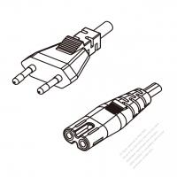 Russia 2-Pin Plug To IEC 320 C7 AC Power Cord Set Molding (PVC) 1.8M (1800mm) Black ( H05VVH2-F 2X 0.75mm2 )