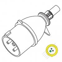 IEC 309 (2P+E ) IP 20 Splash proof AC Plug, 32A 110V (4H)