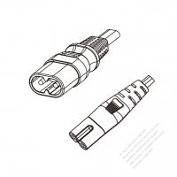 Europe 2-Pin IEC 320 Sheet C Plug to IEC 320 C7 Power cord set (HF - Halogen free) 1.8M (1800mm) Black ( H03Z1Z1H2-F 2X0.75MM  )
