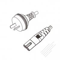 Australia 2-Pin Plug to IEC 320 C7 Power cord set (HF - Halogen free) 1.8M (1800mm) Black (H05Z1Z1H2-F 2X0.75MM )