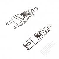 Switzerland 2-Pin Plug to IEC 320 C7 Power cord set (HF - Halogen free) 1 M (1000mm) Black (H03Z1Z1H2-F 2X0.75MM )