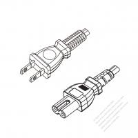Taiwan 2-Pin Plug to IEC 320 C7 Power Cord Set (PVC) 1 M (1000mm) Black  (VCTFK 2X0.75MM )