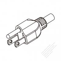 Taiwan 3-Pin Plug/Cable End Remove Outer Sheath 20mm Semi-Stripe Inner Sheath 13mm AC Power Cord - Molding PVC 1.8M (1800mm) Black  (VCTF   3X0.75MM  Round )