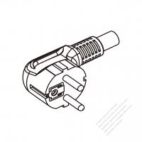 Europe 3 Pin Angle Plug/ Cable End Cut AC Power Cord - Molding PVC 1.8M (1800mm) Black  (H05VV-F  3G 0.75mm2  )