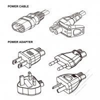 Notebook/DV Adapter Power Cord Set, Japan/Europe/UK /Argentina + C7 figure 8 Adapter, Power Cord Set figure 8 (Sheet C) plug + C7 figure 8 Connector , 1M , 2-Pin 2.5A/250V