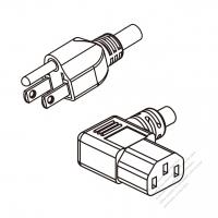 US/Canada 3-Pin NEMA 5-15P Plug To IEC 320 C13 Left Angle AC Power Cord Set Molding (PVC) 1.8M (1800mm) Black (SVT 18/3C/60C )