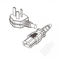 China 3-Pin Angle Type Plug to IEC 320 C13 Power Cord Set (PVC) 1 M (1000mm) Black  60227 IEC53(RVV) 3C*0.75, (round) )
