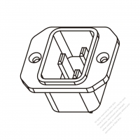 AC Socket IEC 60320-1 (C20) Appliance Inlet, Screw Type, 16A/20A 250V
