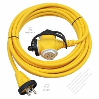 USA 3 Pin Locking Cord NEMA 5-15P Plug /5-15R Receptacle x 3 (2.0MMSQ)Yellow 25 or 50 FT (7.62 or 15.24M)