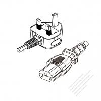 UK 3-Pin Plug to IEC 320 C13 Power cord set (HF - Halogen free) 1.8M (1800mm) Black (H05Z1Z1-F 3X0.75MM )