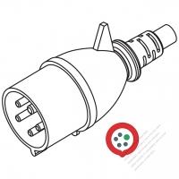 IEC 309  (3P+N+E) IP 44 Splash proof AC Plug, 32A 440V (11H)