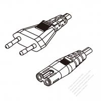 Korea 2-Pin Plug To IEC 320 C7 AC Power Cord Set Molding (PVC) 1 M (1000mm) Black ( H03VVH2-F 2X 0.75mm2 )